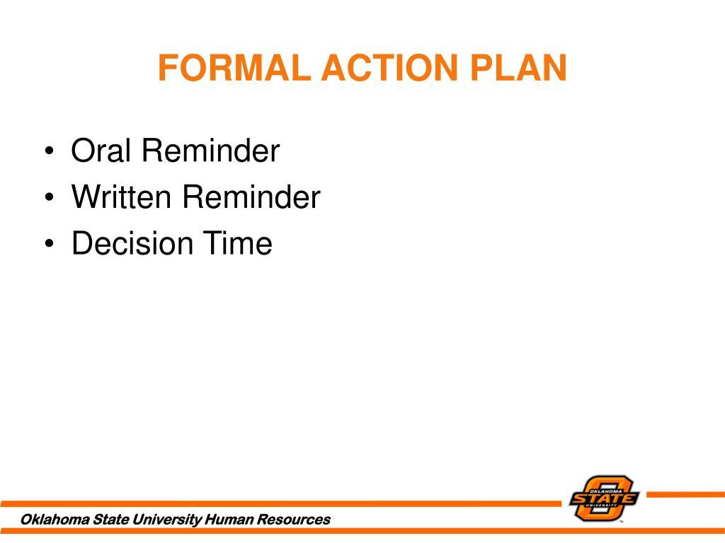 FORMAL ACTION PLAN