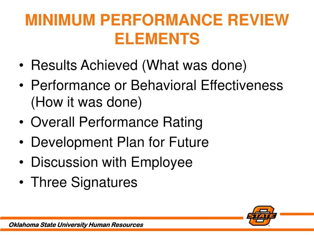 MINIMUM PERFORMANCE REVIEW ELEMENTS