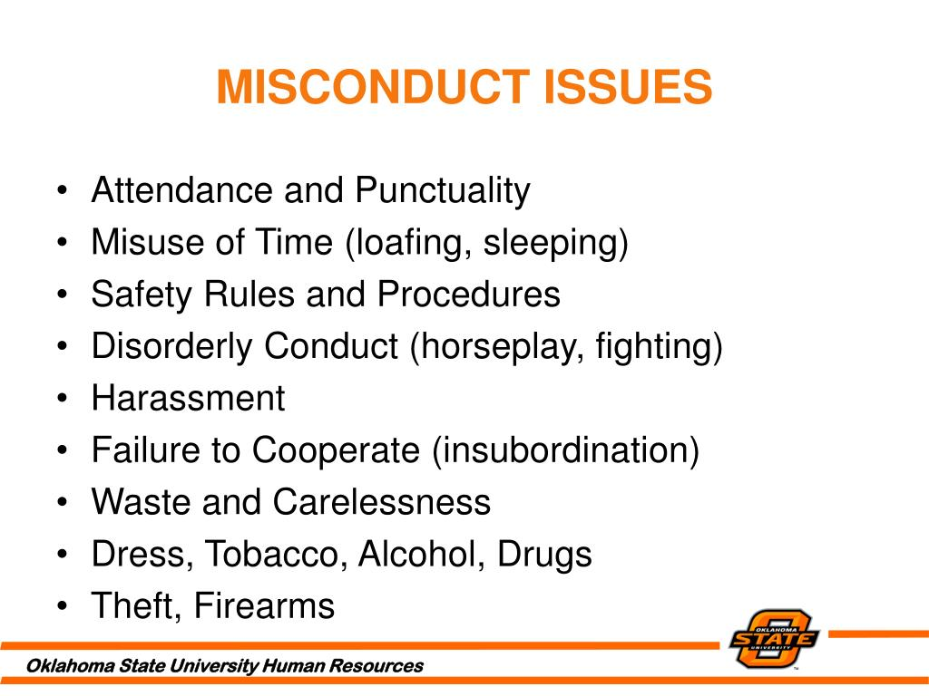 MISCONDUCT ISSUES