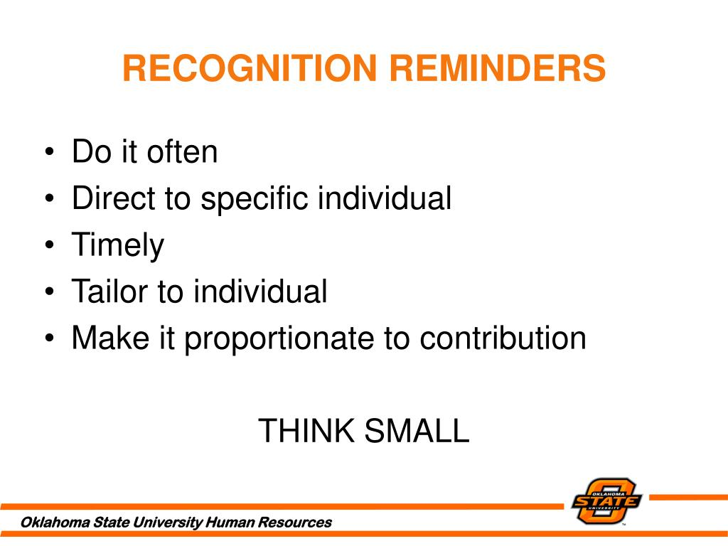 RECOGNITION REMINDERS