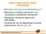 what s new about merit programs