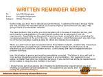 written reminder memo