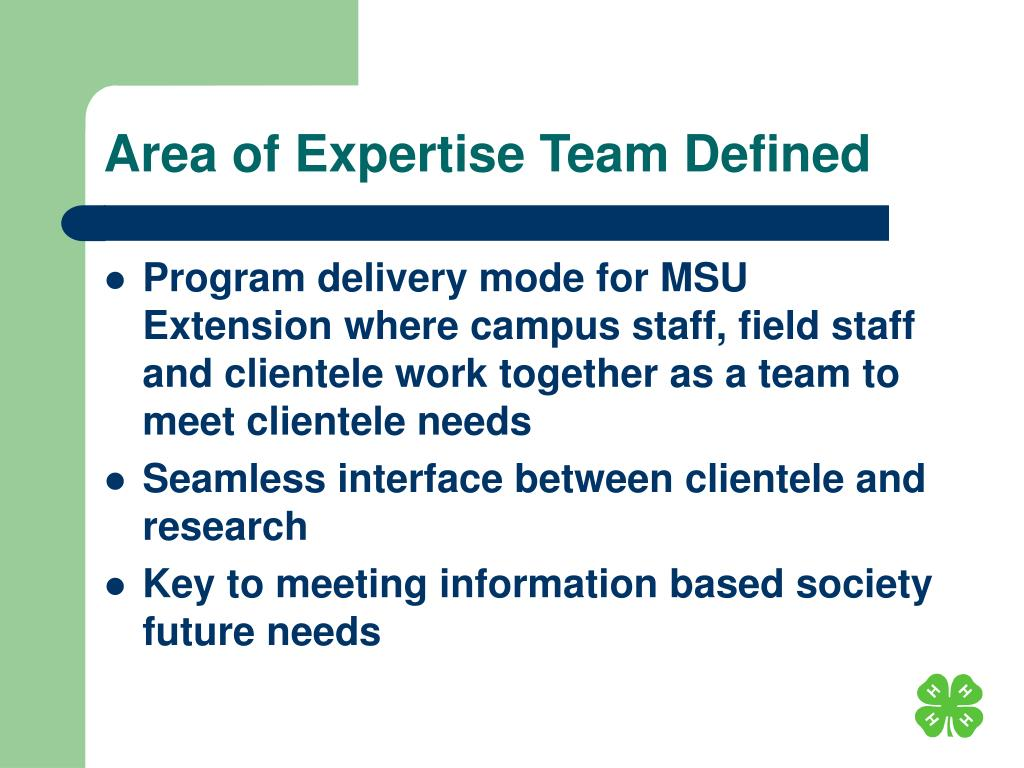 Area of Expertise Team Defined