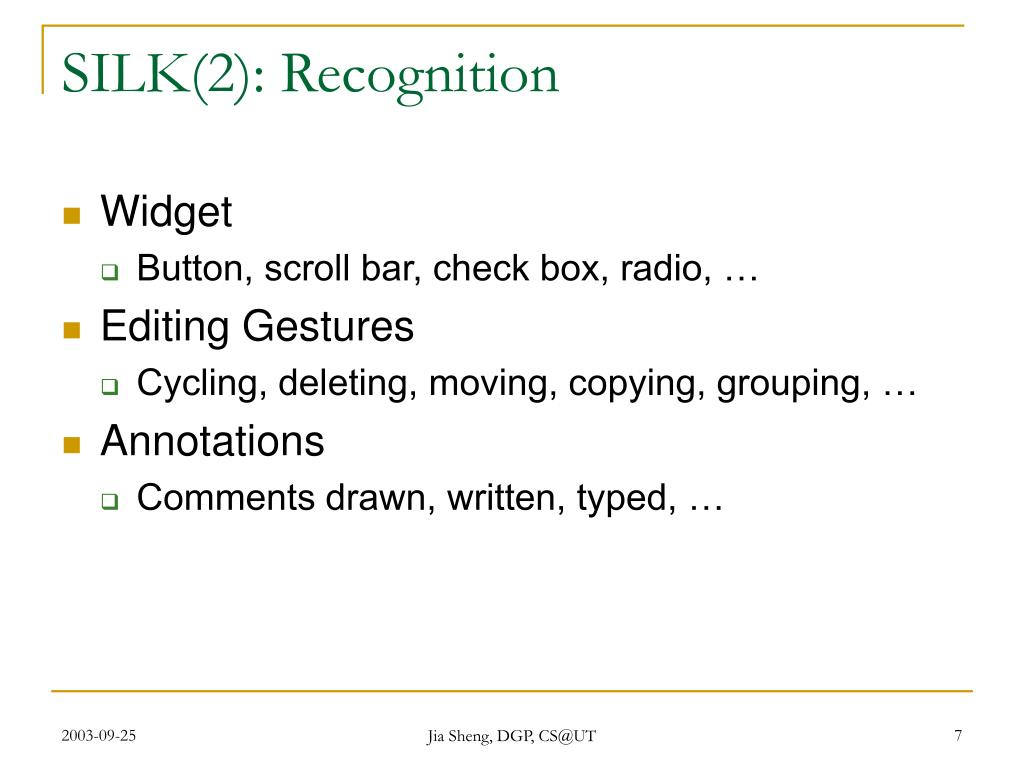 SILK(2): Recognition