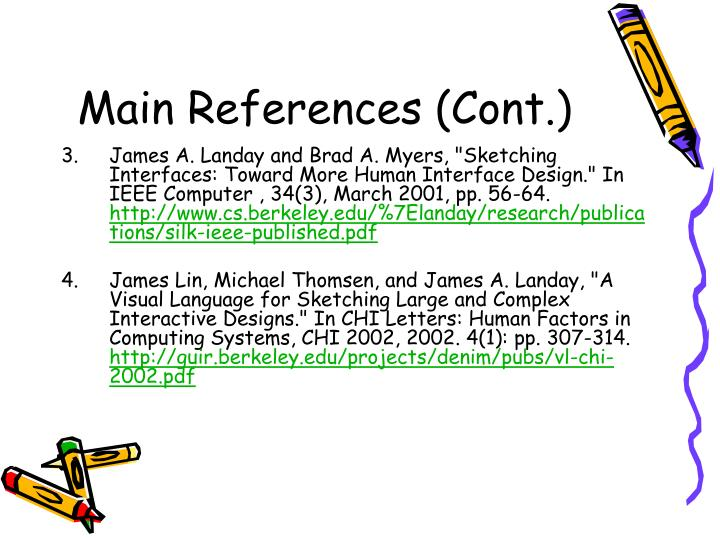 Main references cont
