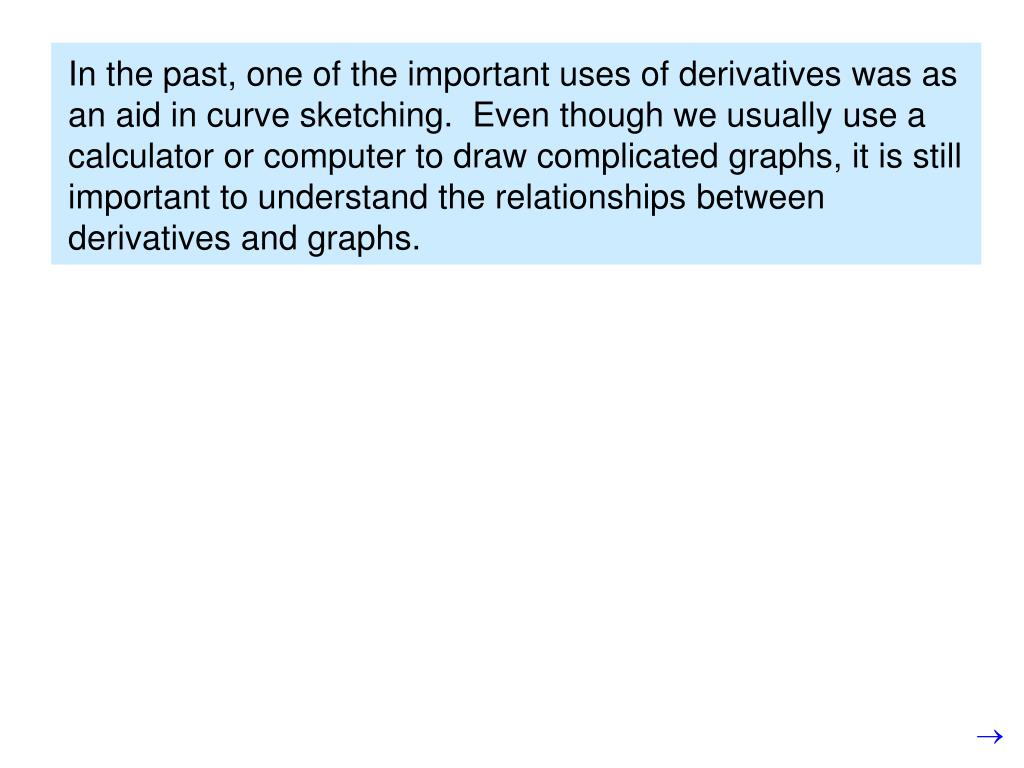 In the past, one of the important uses of derivatives was as an aid in curve sketching.  Even though we usually use a calculator or computer to draw complicated graphs, it is still important to understand the relationships between derivatives and graphs.