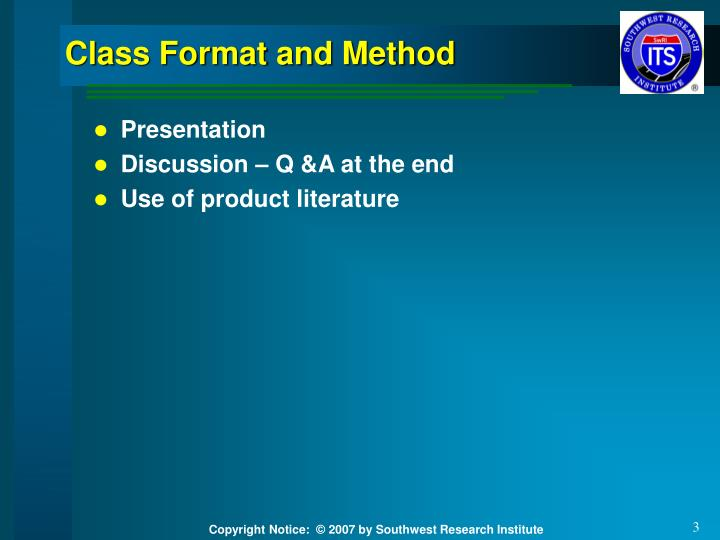Class format and method