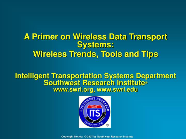 A Primer on Wireless Data Transport Systems: