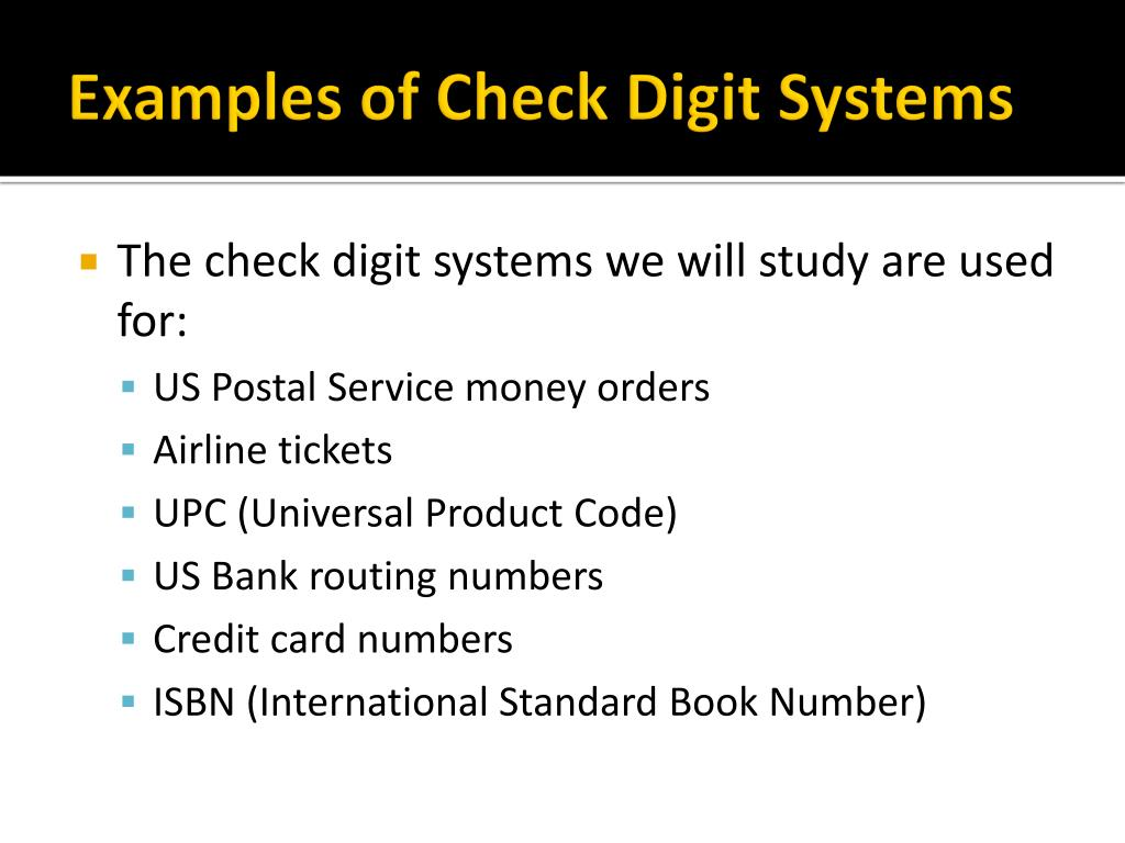PPT - Chapter 16: Check Digit Systems PowerPoint