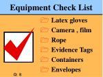equipment check list