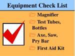 equipment check list77