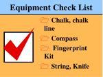 equipment check list78