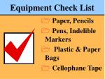 equipment check list79