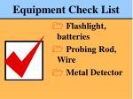 equipment check list80