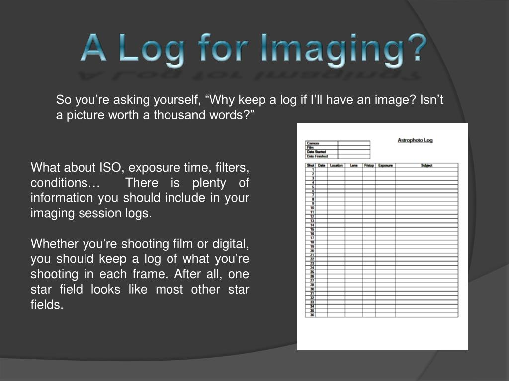 A Log for Imaging?