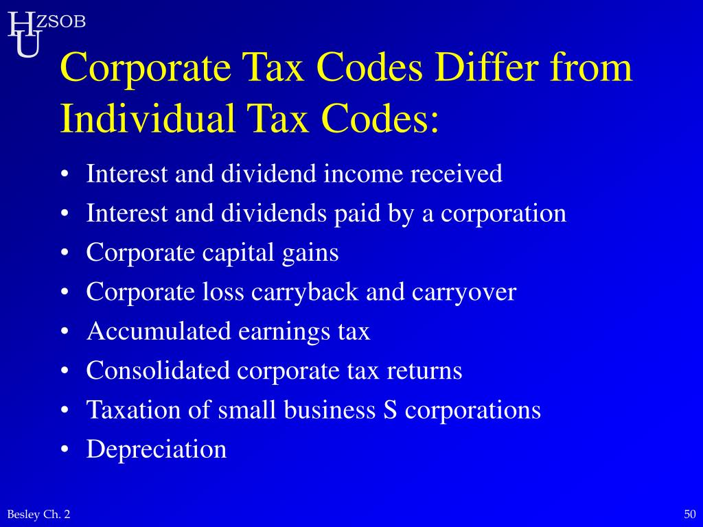 Corporate Tax Codes Differ from Individual Tax Codes: