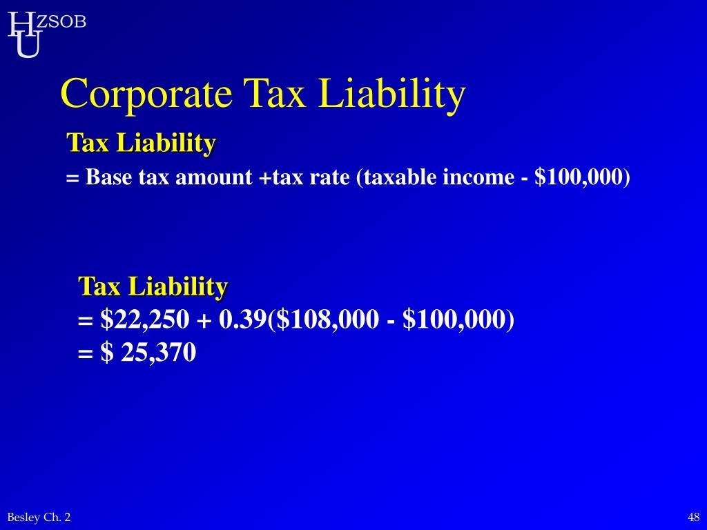 Corporate Tax Liability