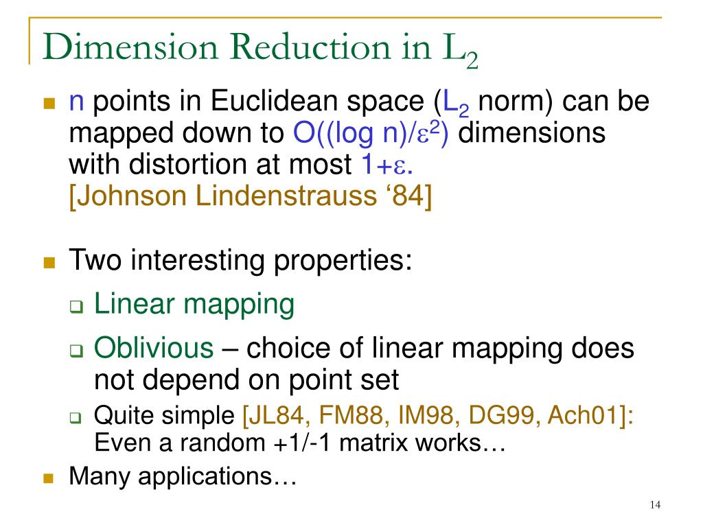 Dimension Reduction in L