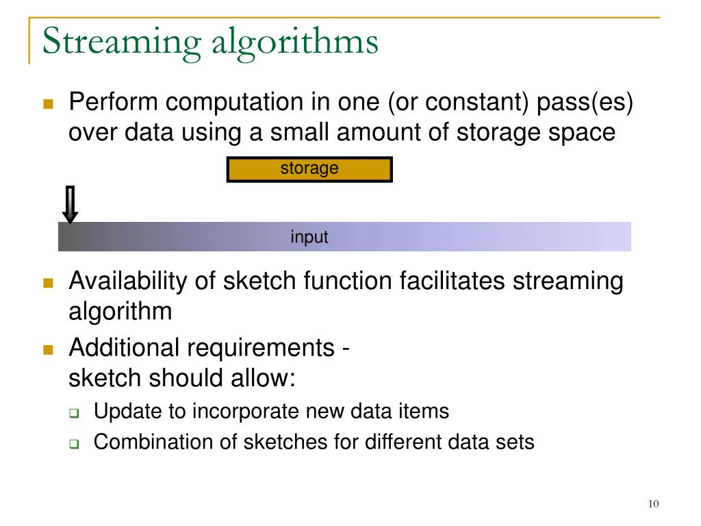 Streaming algorithms