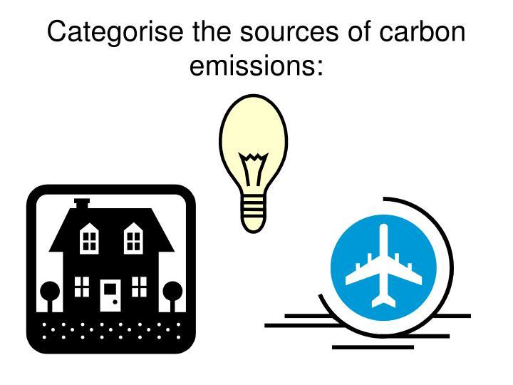 Categorise the sources of carbon emissions