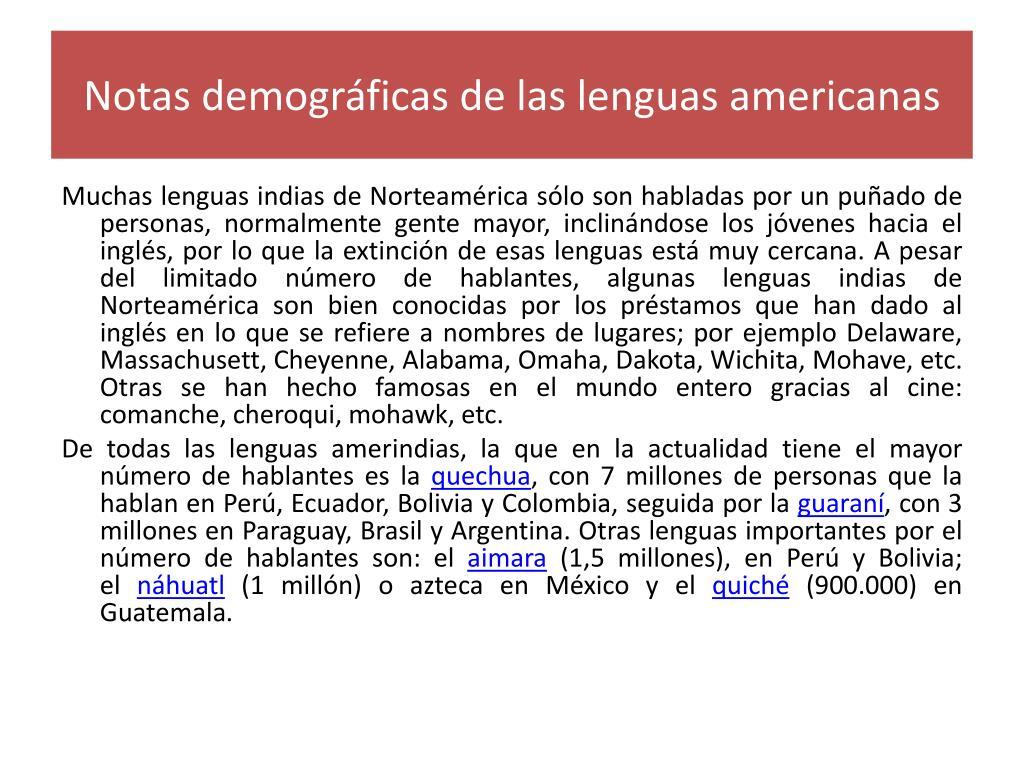 Notas demográficas de las lenguas americanas