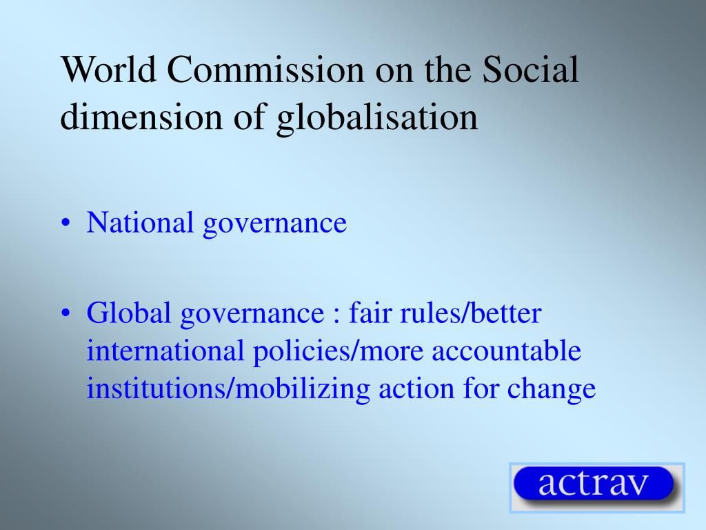 World Commission on the Social dimension of globalisation