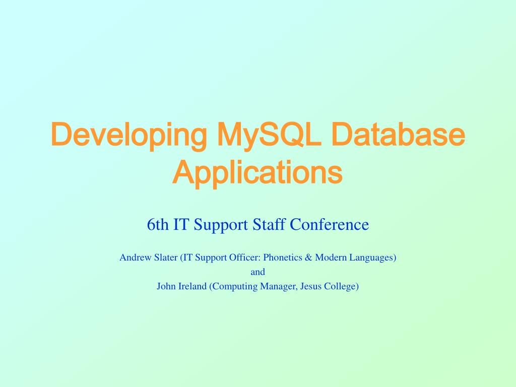 developing mysql database applications l.