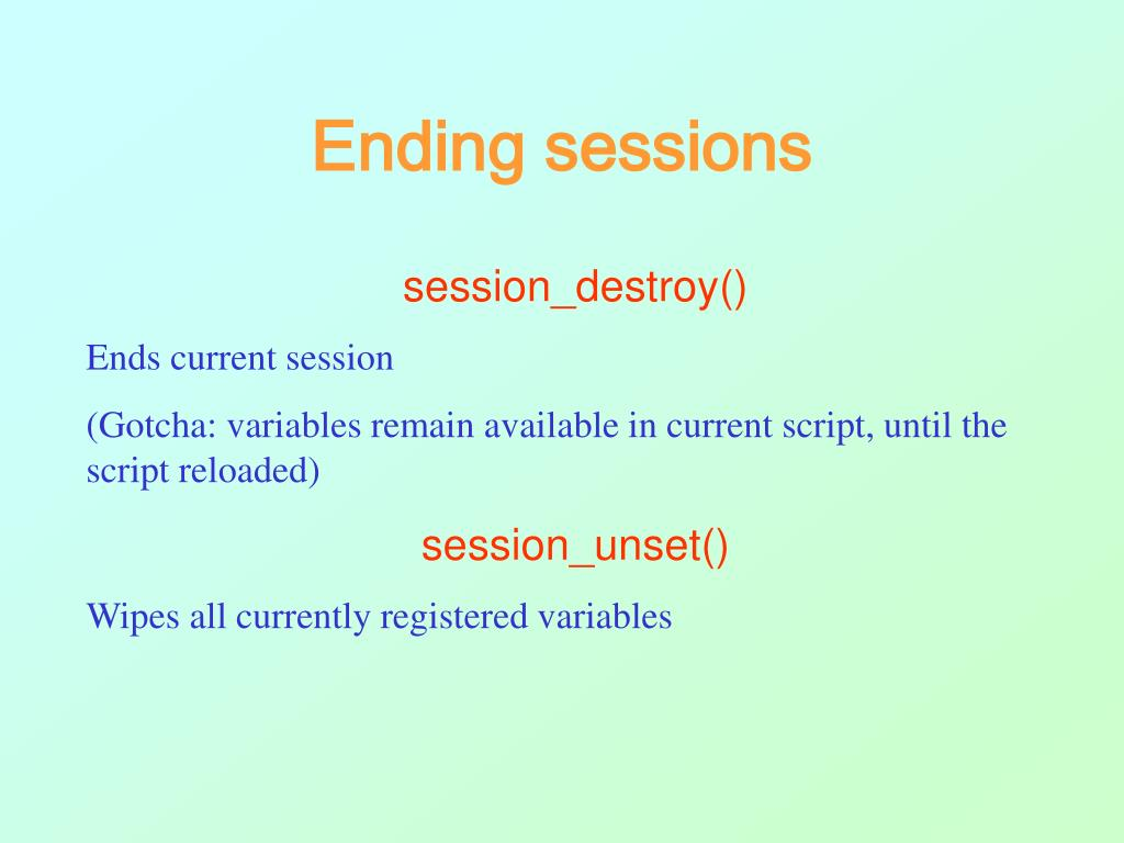 Ending sessions