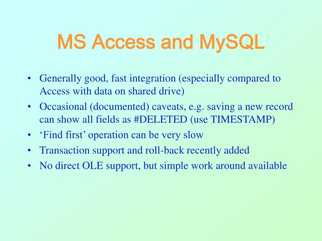 MS Access and MySQL