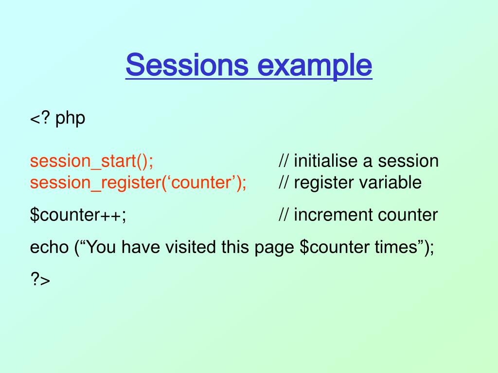 Sessions example
