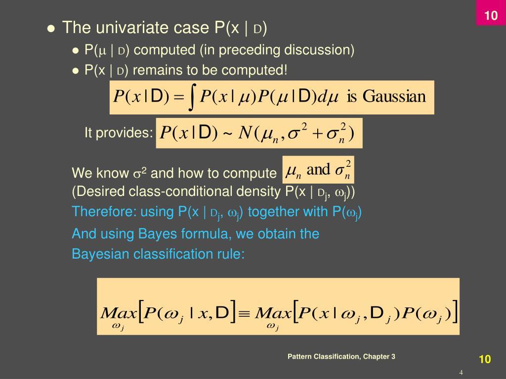 The univariate case P(x  