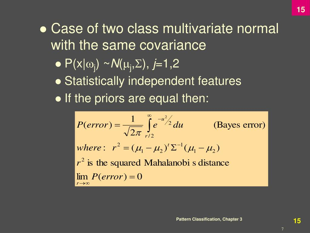 Case of two class multivariate normal with the same covariance