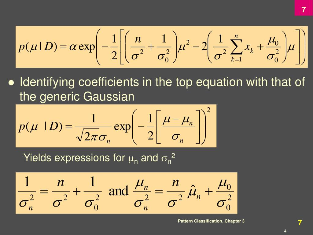 Identifying coefficients in the top equation with that of the generic Gaussian