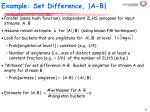 example set difference a b