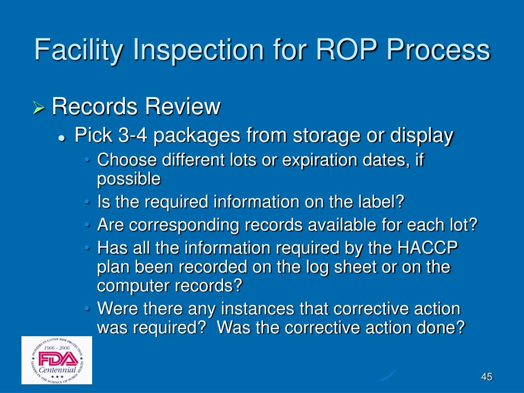 Facility Inspection for ROP Process