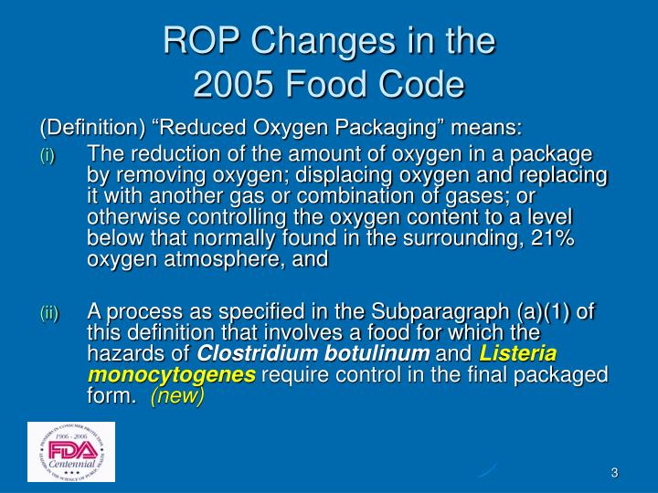 Rop changes in the 2005 food code