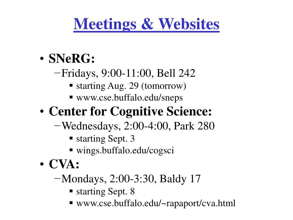 Meetings & Websites