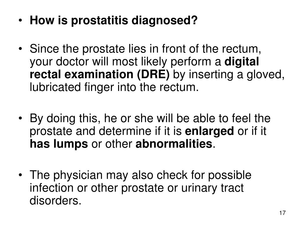 How is prostatitis diagnosed?