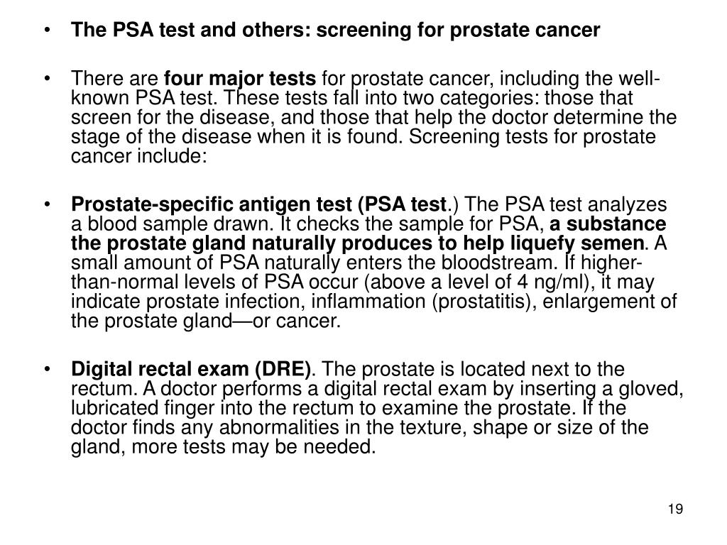 The PSA test and others: screening for prostate cancer