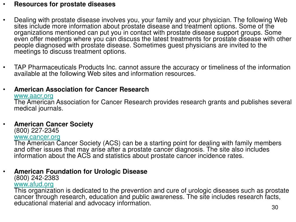 Resources for prostate diseases