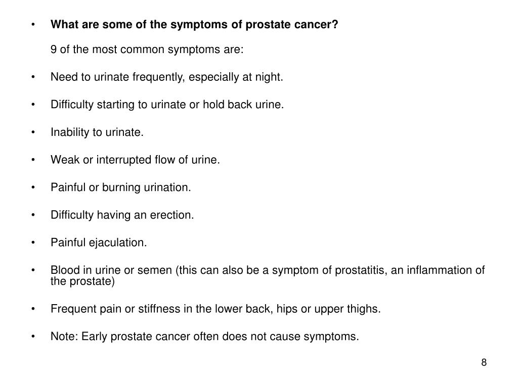 What are some of the symptoms of prostate cancer?