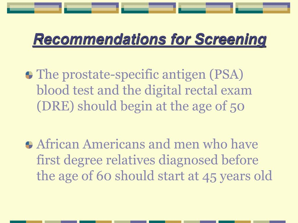 Recommendations for Screening