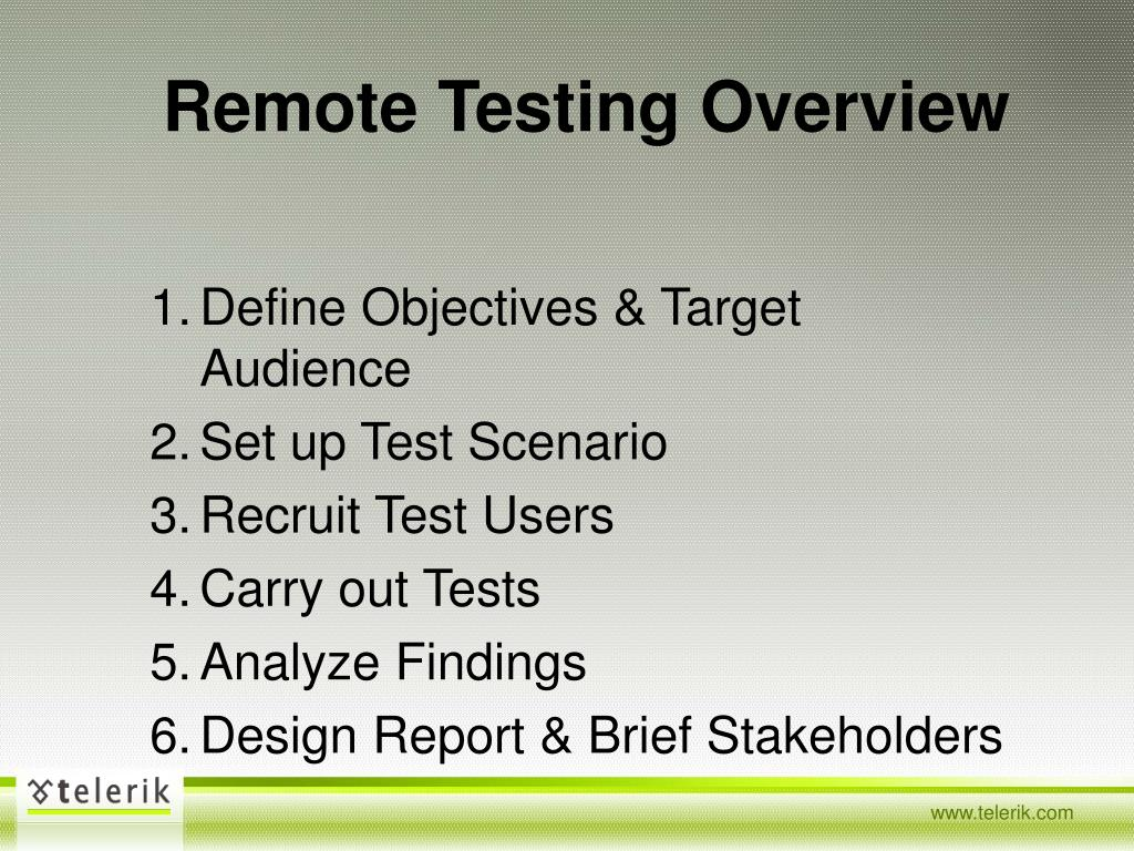 Remote Testing Overview