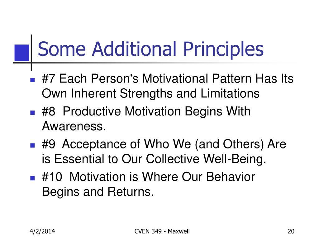 Some Additional Principles