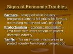 signs of economic troubles