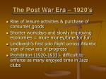 the post war era 1920 s