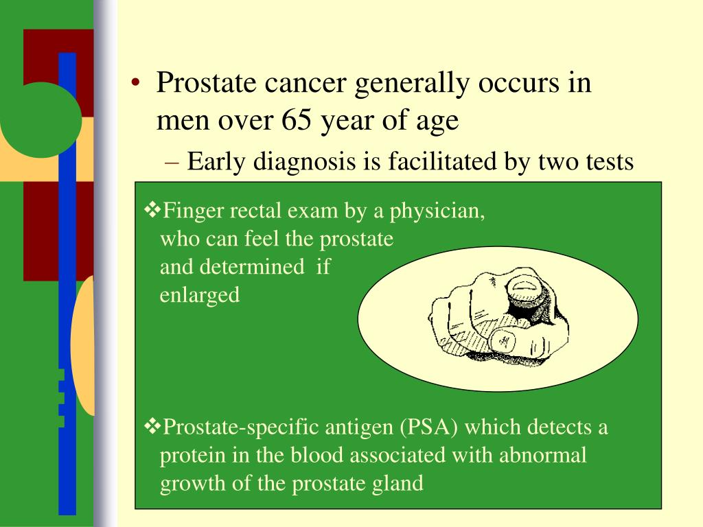 Prostate cancer generally occurs in men over 65 year of age