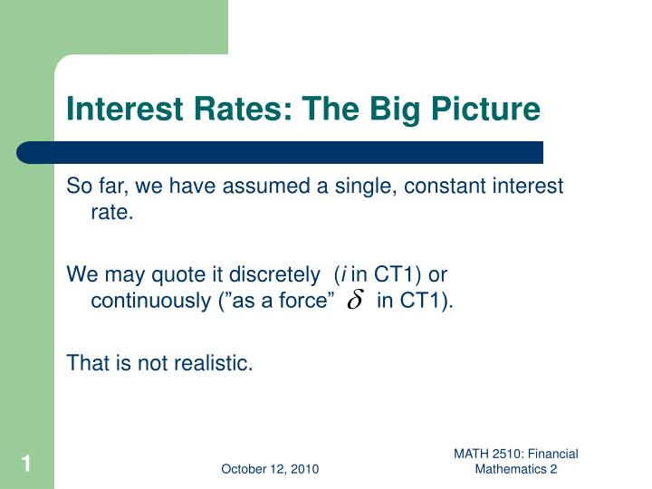 interest rates the big picture n.