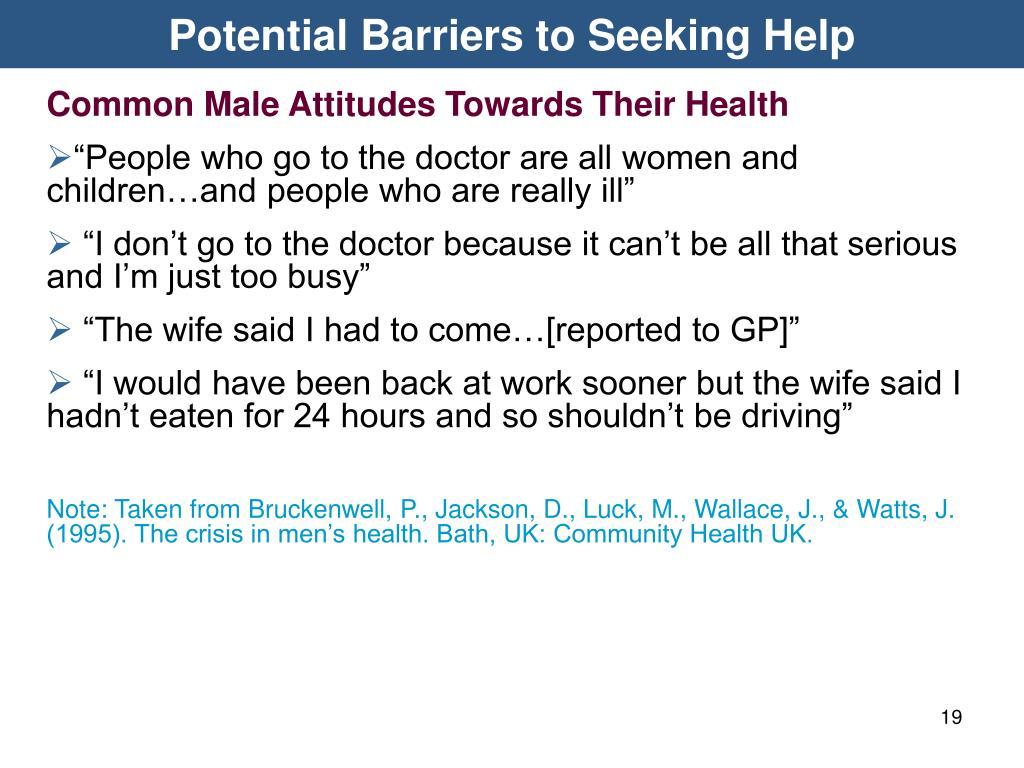 Potential Barriers to Seeking Help
