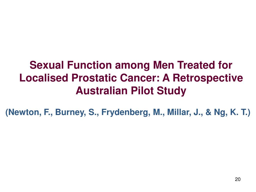 Sexual Function among Men Treated for Localised Prostatic Cancer: A Retrospective Australian Pilot Study